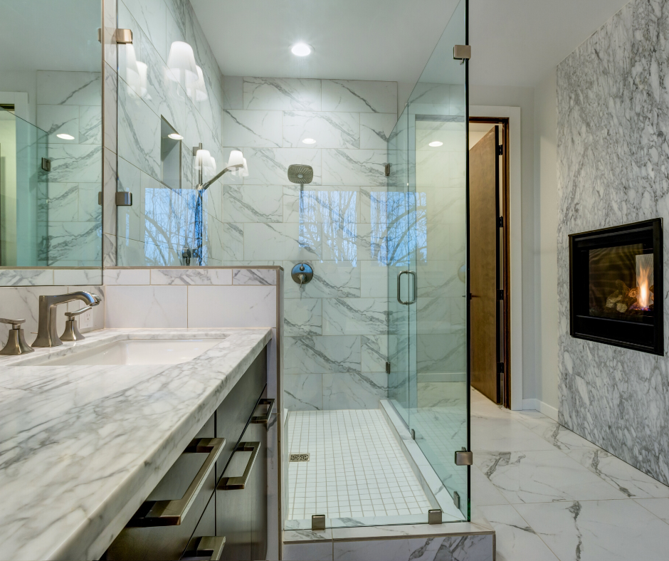 white marble bathroom with marble look vinyl tile